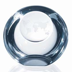 Crystal Globe Dome Paperweight | Personalized Corporate Gifts - UltimateCrystalAwards.com