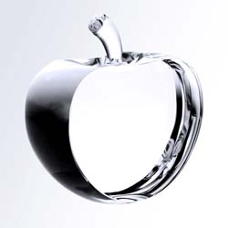 Crystal Teacher Half Apple Award | Personalized Crystal Gifts - UltimateCrystalAwards.com