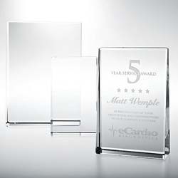 Crystal Vertical Rectangle Plaque - UltimateCrystalAwards.com