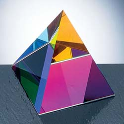 Pyramid Color Crystal Paperweight | Personalized Corporate Gifts - UltimateCrystalAwards.com