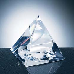 Pyramid Crystal Globe Paperweight | Personalized Corporate Gifts - UltimateCrystalAwards.com