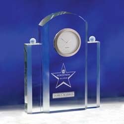 Silvertone Crystal Executive Clock | Personalized Corporate Gifts - UltimateCrystalAwards.com