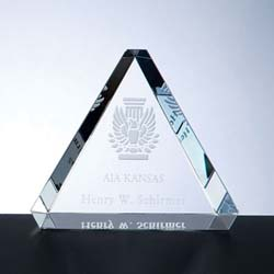Crystal Beveled Triangle Paperweight | Personalized Corporate Gifts - UltimateCrystalAwards.com
