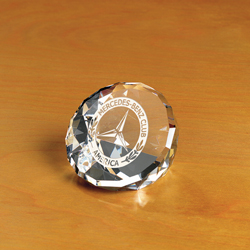 Crystal Duet Round Paperweight | Personalized Corporate Gifts - UltimateCrystalAwards.com