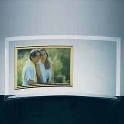 Curved Glass Horizontal Photo Frame - UltimateCrystalAwards.com