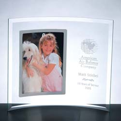 Curved Glass Vertical Silver Photo Frame - UltimateCrystalAwards.com