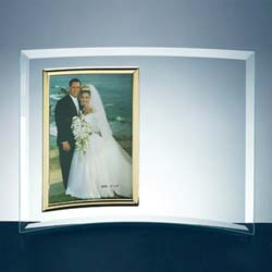 Curved Glass Vertical Photo Frame - UltimateCrystalAwards.com