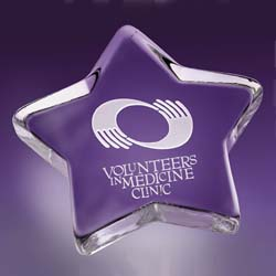 Friendly Glass Star Paperweight | Personalized Corporate Gifts - UltimateCrystalAwards.com