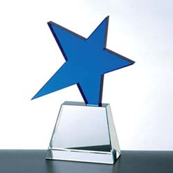 Meteor Crystal Star Award (Blue) - UltimateCrystalAwards.com