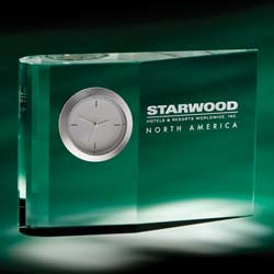 Zilo Crystal Executive Clock | Personalized Corporate Gifts - UltimateCrystalAwards.com